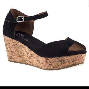 Tom's Suede Cork Wedge sandals